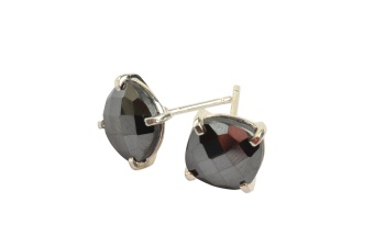 CUSHION STUD EARRINGS SILVER HEMATITE