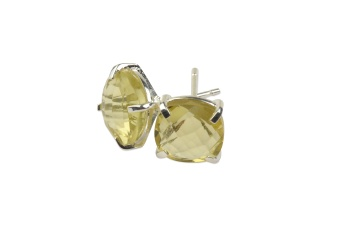 CUSHION STUD EARRINGS SILVER LEMON