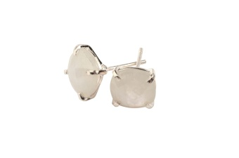 CUSHION STUD EARRINGS SILVER MOONSTONE