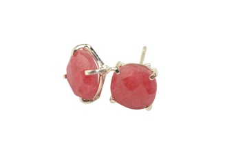 CUSHION STUD EARRINGS SILVER RHODOCHROSITE