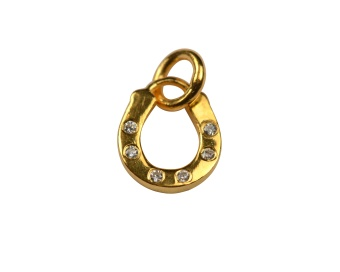 DANGLING EARRING GOLD HORSE SHOE