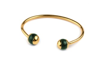 DECO BALL BANGLE GOLD GREEN AVENTURINE