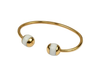 DECO BALL BANGLE GOLD WHITE AGATE