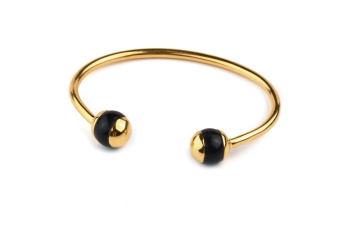 DECO BALL BANGLE, BLACK ONXY