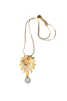 DECO FLOWER NECKLACE GOLD WHITE AGATE