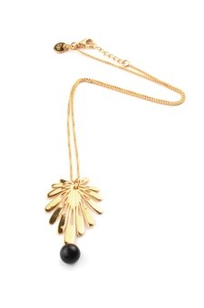 DECO FLOWER NECKLACE, BLACK ONYX
