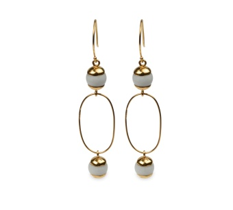 DECO BALL EARRINGS GOLD WHITE AGATE