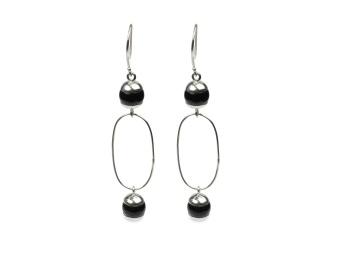 DECO BALL EARRINGS SILVER BLACK ONYX