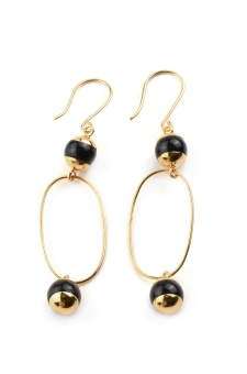 DECO BALL EARRINGS, BLACK ONYX