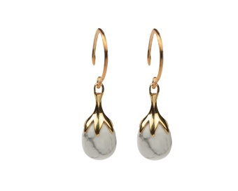DRIPPING EARRINGS GOLD, HOWLITE
