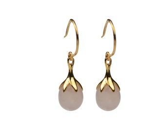 DRIPPING EARRINGS GOLD, ROSE QUARTZ