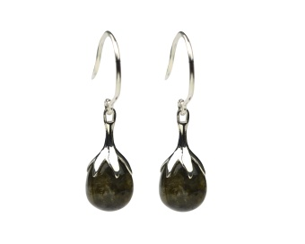 DRIPPING EARRINGS SILVER, HEMATITE