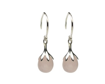 DRIPPING EARRINGS SILVER, ROSE QUARTZ