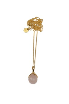 DRIPPING NECKLACE GOLD, ROSE QUARTZ