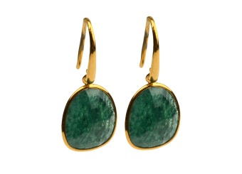 GLAM GLAM EARRINGS GOLD GREEN AVENTURINE