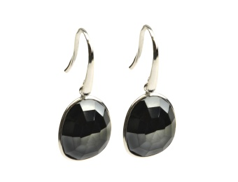 GLAM GLAM EARRINGS SILVER HEMATITE