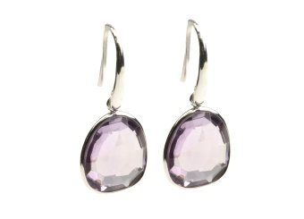 GLAM GLAM EARRINGS SILVER PINK AMETHYST