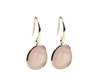 GLAM GLAM EARRINGS SILVER ROSE QUARTZ