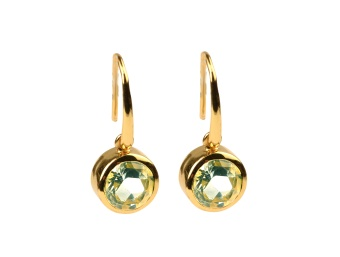 LONE STAR EARRINGS GREEN AMETHYST GOLD