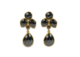 MISS DIVA DANGLING EARRING GOLD HEMATITE