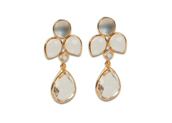 MISS DIVA DANGLING EARRING GOLD CRYSTAL