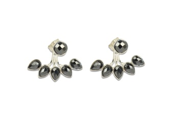 MISS DIVA DROP LINE EARRINGS SILVER HEMATITE