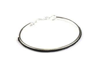 NATIVE NARROW BANGLE SILVER BLACK
