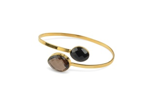 NUGGET BANGLE GOLD SMOKEY BLACK ONYX