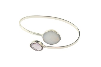 NUGGET BANGLE SILVER WHITE OPAL