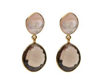 NUGGET EARRINGS GOLD SMOKEY ROSE