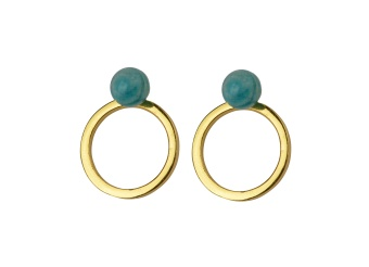 PLANET EARRINGS GOLD AMAZONITE