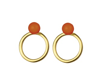 PLANET EARRINGS GOLD RED ONYX