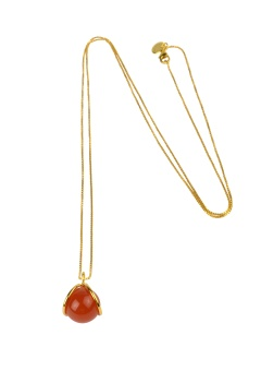 PLANET NECKLACE GOLD RED ONYX