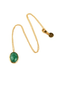 SCARAB NECKLACE GREEN ONYX