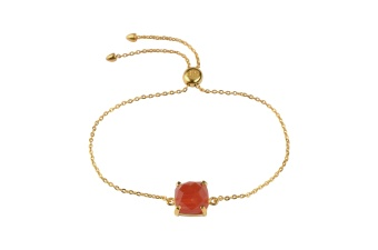 SINGLE CUSHION BRACELET GOLD CARNELIAN
