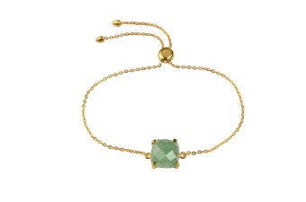 SINGLE CUSHION BRACELET GOLD GREEN AVENTURINE