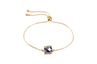 SINGLE CUSHION BRACELET GOLD HEMATITE