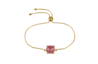 SINGLE CUSHION BRACELET GOLD RHODOCHROSITE