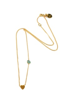 SPARKLE NECKLACE GOLD HEART, GREEN