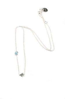 SPARKLE NECKLACE SILVER BIRD AQUAMARINE