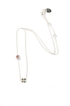 SPARKLE NECKLACE SILVER CLOVER, PINK