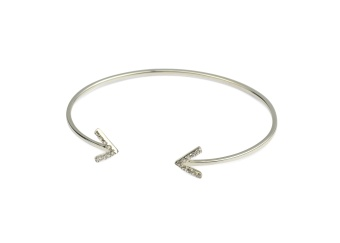 STRICT SPARKLING BANGLE ARROW, SILVER