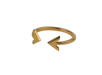 STRICT PLAIN DOUBLE ARROW RING GOLD