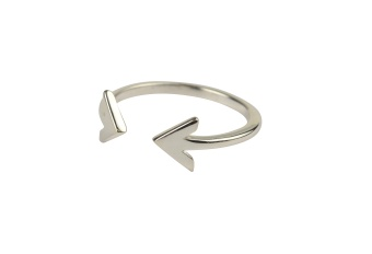 STRICT PLAIN DOUBLE ARROW RING SILVER