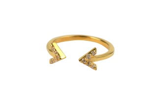 STRICT SPARKLE DOUBLE ARROW RING GOLD
