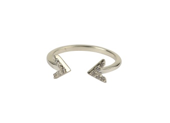 STRICT SPARKLE DOUBLE ARROW RING SILVER