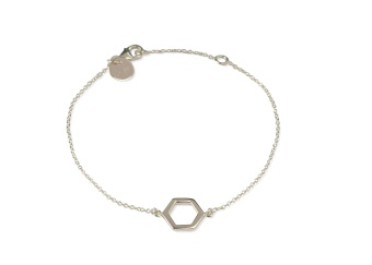 STRICT SIMPLE HEXAGON BRACELET SILVER