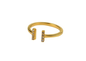 STRICT SPARKLE BAR RING GOLD