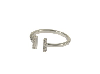 STRICT SPARKLE BAR RING SILVER