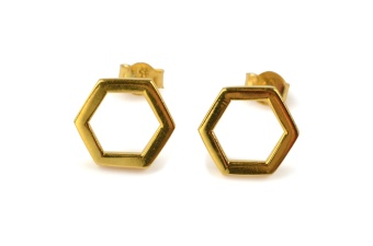 STRICT SIMPLE HEXAGON EARRING GOLD